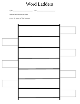 graphic about Word Ladders Printable titled Term Ladders Template