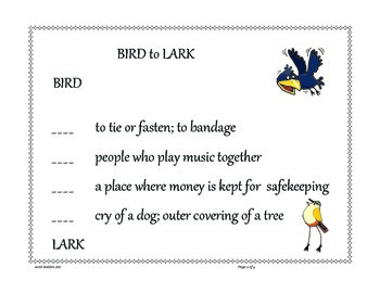 Word Ladders vocabulary game