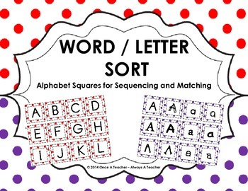 Word / Letter Sort -  Alphabet Squares for Sequencing and