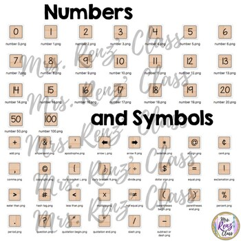 Word Tile Clip Art - Word Letter Tiles, Numbers & Symbols Commercial & Personal