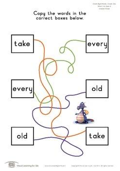 Word Line Maze (1st Grade)