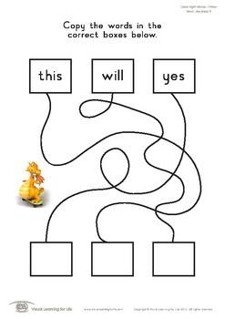 Word Line Maze (Kindergarten)