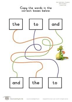 Word Line Maze (Pre-K)