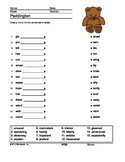 Word Links Printable Worksheet for the Book Paddington