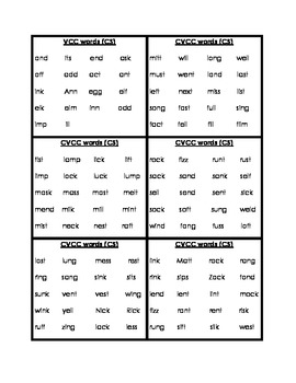 Word List Cards for Phonemic Awareness Activities