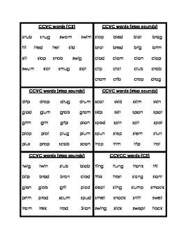 Word List Cards For Phonemic Awareness Activities By