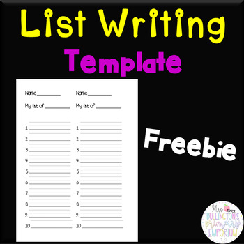 Word List Template