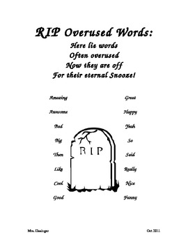 Word List for Dead Word Wall