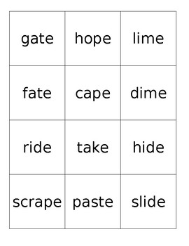 Word List for Phonics Practice