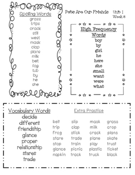 Word Lists for Second Grade Reading Wonders Series Unit 1
