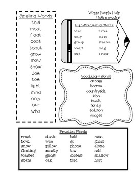 Word Lists for Second Grade Reading Wonders Series Unit 3