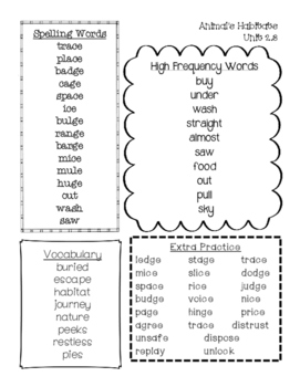 Word Lists for Second Grade Reading Wonders Series Unit 2