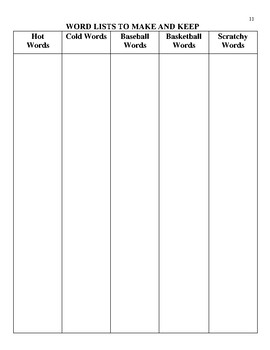 Word Lists to Make and Keep: A Brainstorming Activity