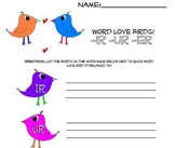 Word Love Birds -Ir -Ur -Er