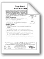 Word Machines: Long Vowels (long o/end of syllable, long e/e and ee