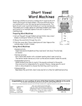 Word Machines: Short Vowels (short e)