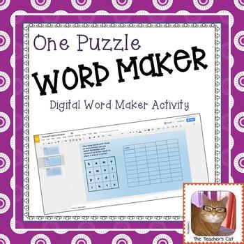 Word Maker Game - One Digital Puzzle - Paperless - Google Slides