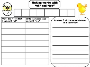 """Word Making Activity for the """"Ch"""" and """"tch"""" sounds"""