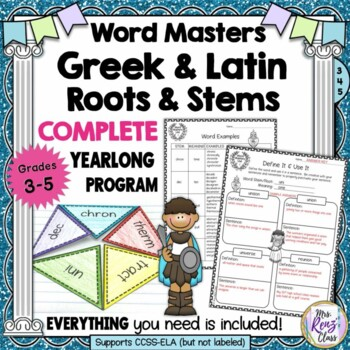 Greek and Latin Roots Grades 3-5 YEARLONG Program! 36 Units of Stems and Roots