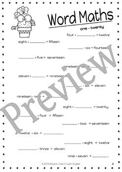 Word Math Problems Worksheets 0 - 20
