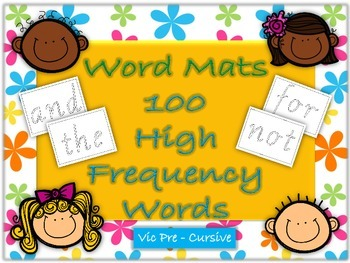 Word Mats 100 High Frequency Words Vic Pre Cursive