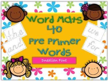 Word Mats Pre Primer Sight Words Dnealian