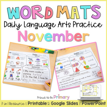 Word Mats Daily Language Arts Practice for November