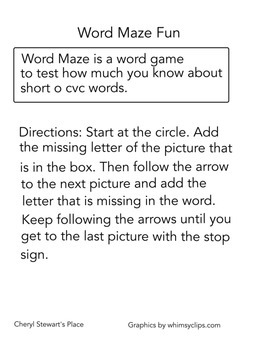 Word Maze Fun-short o cvc