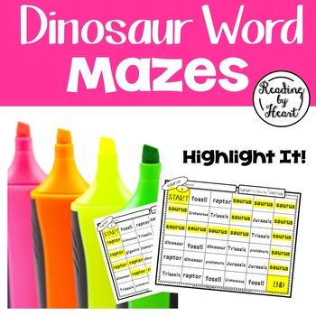 Word Mazes Dinosaur Words