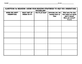 Word Meaning Clarification Student Organizer