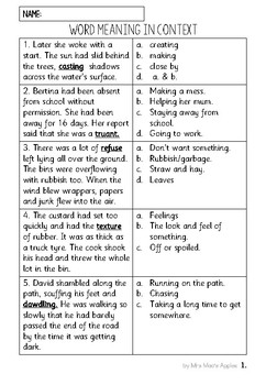 Word Meaning In Context: Reading Comprehension
