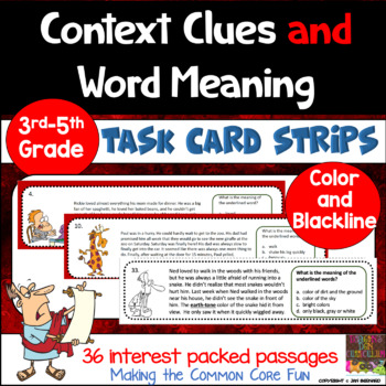 Context Clues and Word Meaning Task Card Strips