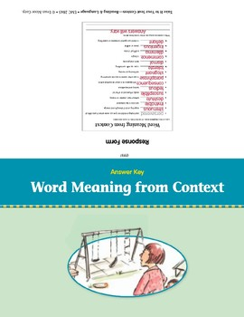 Word Meaning from Context (Take It to Your Seat Centers)