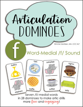 Word-Medial F for Speech Therapy - Articulation Drills, Articulation Dominoes