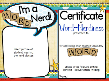 Editable certificate templates teaching resources teachers pay word nerd certificate template word nerd certificate template yadclub Images