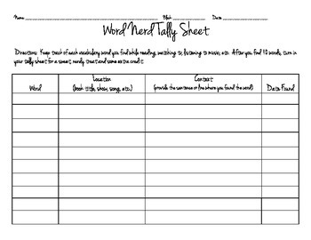 Word Nerd Tally Sheet