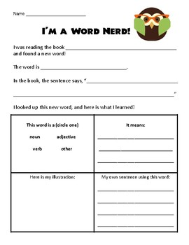 Word Nerd independent vocabulary activity