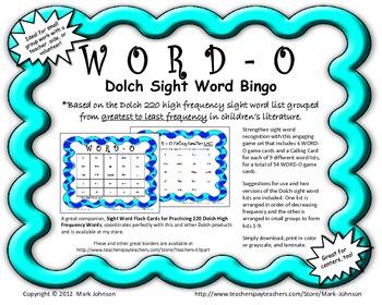 Word O  Dolch Sight Word Bingo