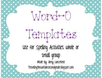 Word-O Spelling Bingo Template