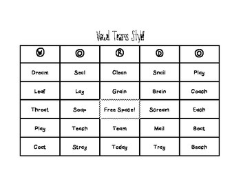 Word-O for Vowel Teams