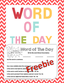 Morning Work Word Of The Day Freebie