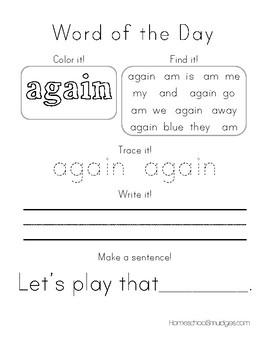 Word Of The Day Workbooks, First Grade Sight Words