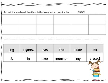Word Order Cut-and-Paste sentences- with images