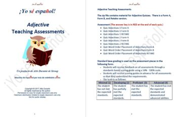 Word Order Placement of Adjective Quizzes  Teaching Material