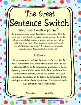 Word Order- The Great Sentence Switch