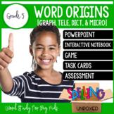 Word Origins (GRAPH, TELE, DICT, MICRO) Spelling Word Work Unit