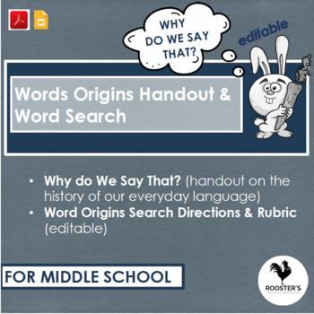 Word Origins Search Middle School {Digital & PDF} Distance Learning