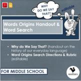 Word Origins Search Middle School {Digital & PDF} Distance