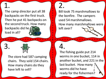 Word Problems:  Camping Theme--Add and Subtract Without Regrouping