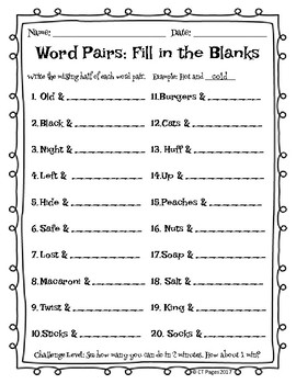Word Pairs: A Brainteaser Packet